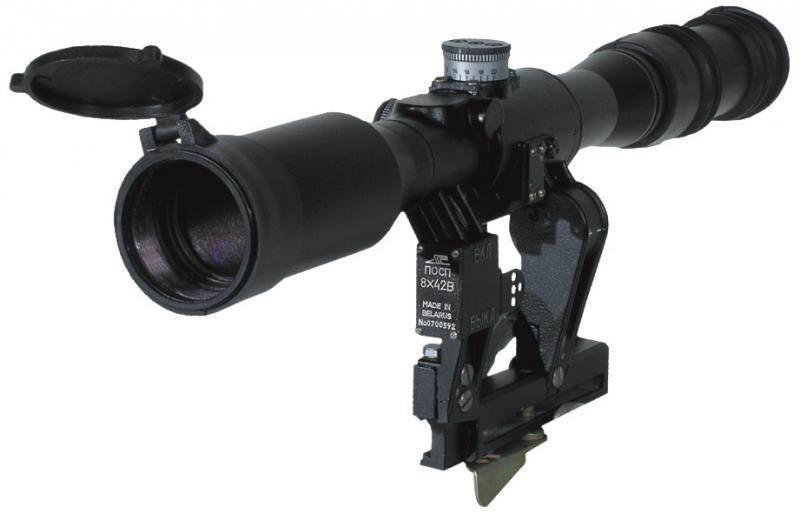Оптический прицел Беломо ПОСП 8х42 В, с подсветкой сетки, азотозаполненный, с ЛЦУ-ОМ (для карабинов Сайга/Вепрь)