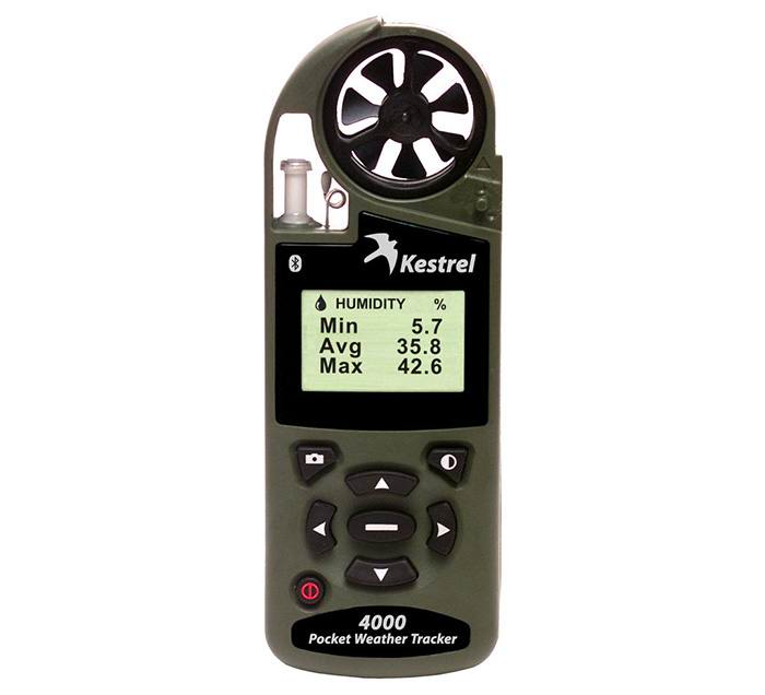 Ветромер Kestrel 4000 NVBT Olive (время, скорость ветра, температура воздуха, воды, снега, влажность, точка росы, индекс жары) 0840BNVOLV