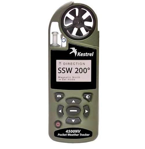 Ветромер Kestrel 4500 NV Olive (текущую, максимальную и среднюю скорость ветра, направление ветра, скорость бокового, встречного и попутного ветра) 0845NVOLV