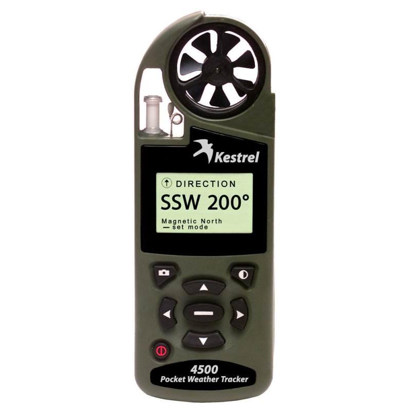Ветромер Kestrel 4500 BT Olive (текущую, максимальную и среднюю скорость ветра, направление ветра, скорость бокового, встречного и попутного ветра) 0845HBOLV