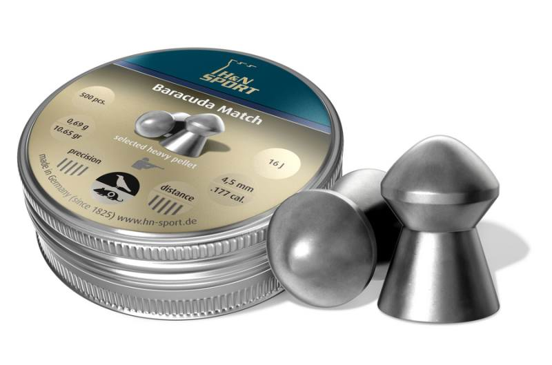 Пульки к пневматике 4.5 мм H&N Baracuda Match (калибр .177), (вес – 0.69г) банка 500 шт