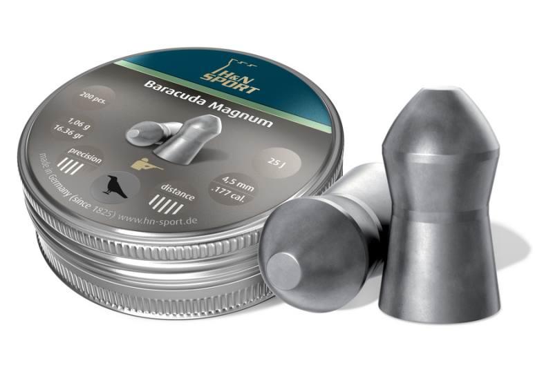 Пульки к пневматике 4.5 мм H&N Baracuda Magnum (калибр .177), (вес – 1.06г) банка 200 шт