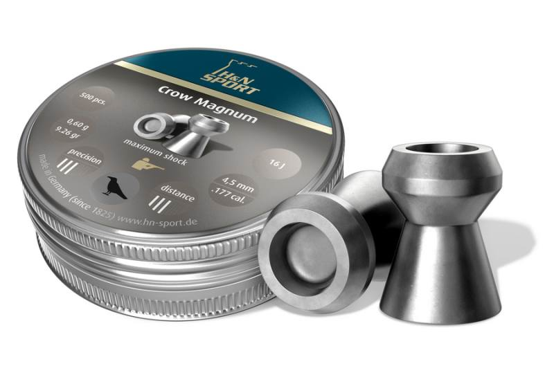 Пульки к пневматике 4.5 мм H&N Crow Magnum (калибр .177), (вес – 0.60г) банка 500 шт