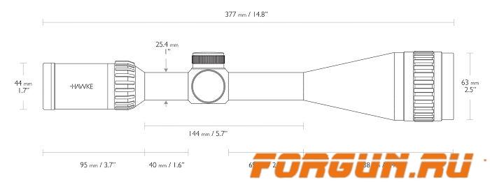 Оптический прицел Hawke Panorama AO 6-18x50, 25.4 мм, c подсветкой, отстройка параллакса, 10× ½ Mil Dot, 15150